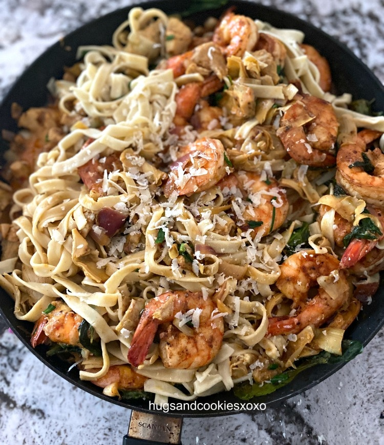 Spinach Artichoke Shrimp with cheese