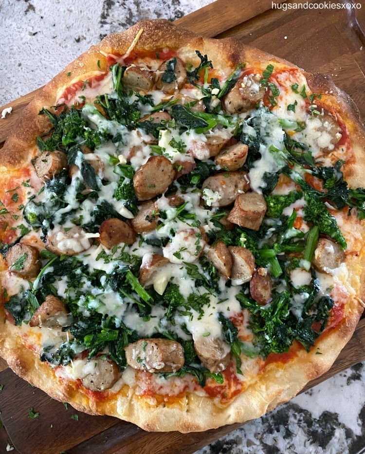 Broccoli Rabe and Sausage Thin Crust Pizza homemade