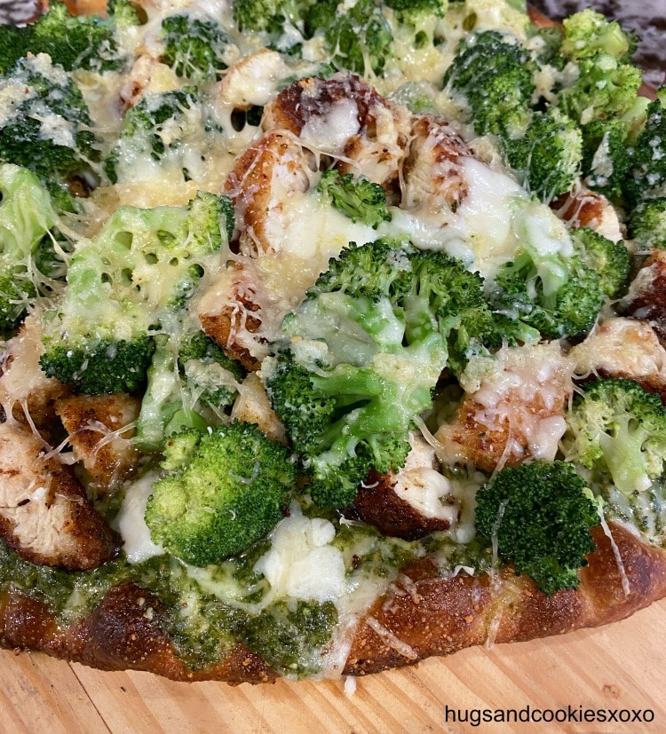Chicken Cutlet and Broccoli Pizza with pesto