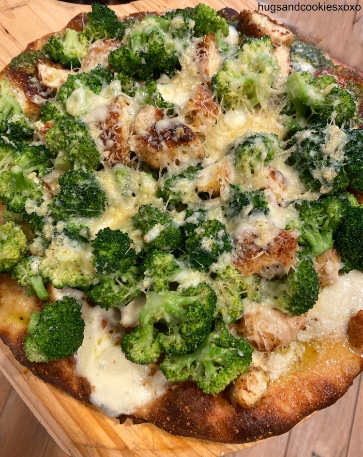 Chicken Cutlet and Broccoli Pizza with parmesan oil