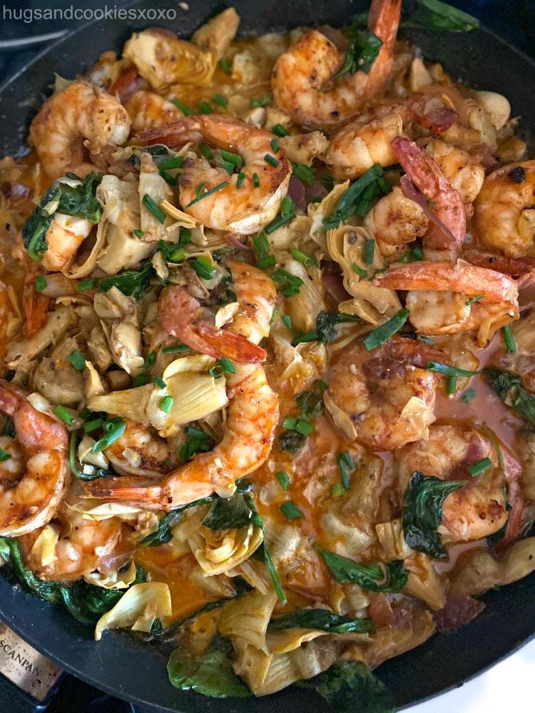 Spinach Artichoke Shrimp in sauce