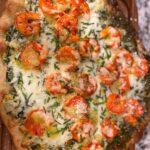Spinach Artichoke Pesto Pizza with Shrimp
