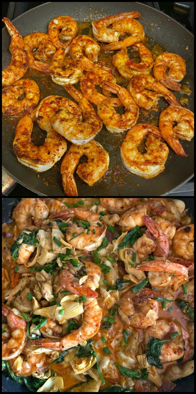 Spinach Artichoke Shrimp pasta dinner