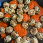 Spinach Garlic Meatballs Stuffed With Mozzarella