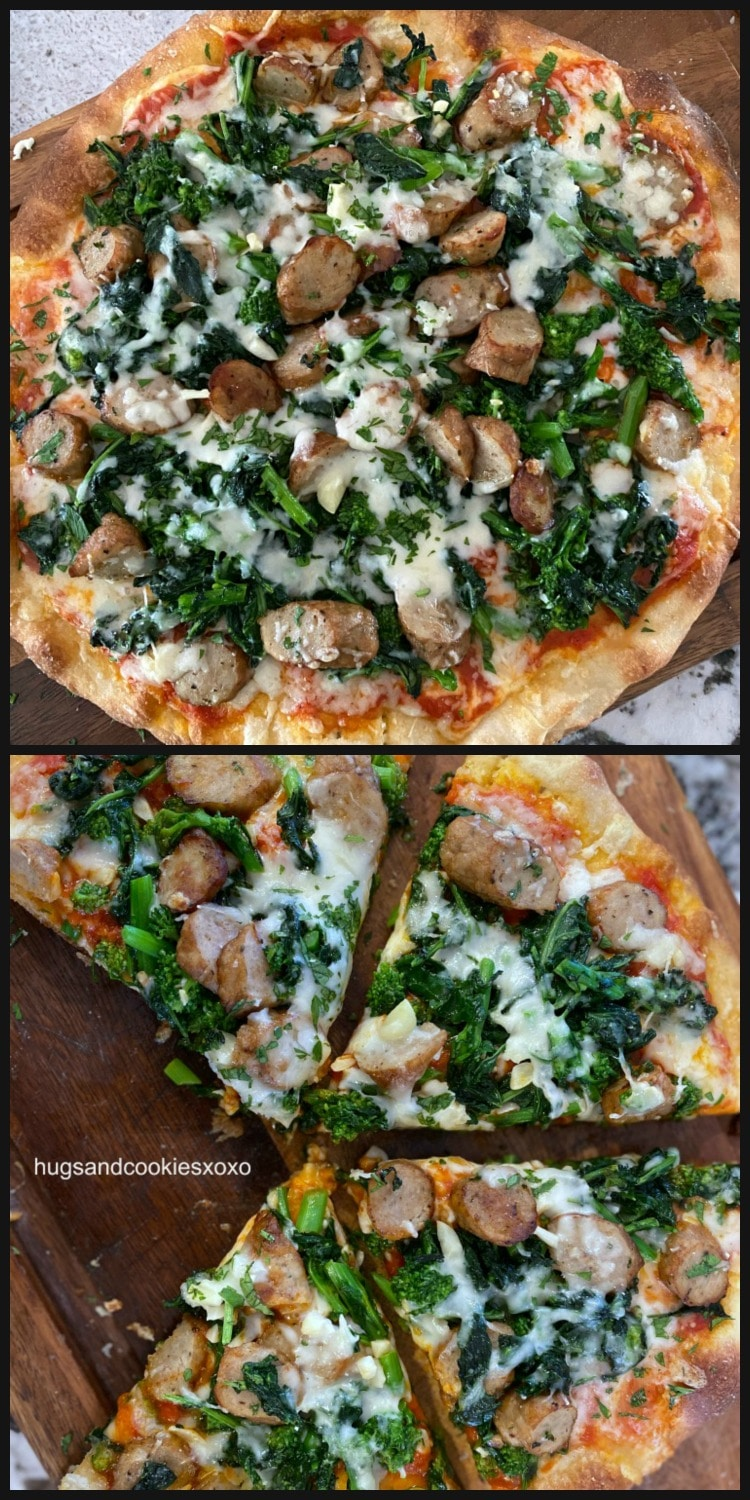 Broccoli Rabe and Sausage Thin Crust Pizza with garlic