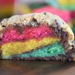 Rainbow Stuffed Chocolate Chip Cookies