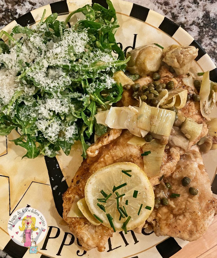 Chicken Piccata and Caesar Salad